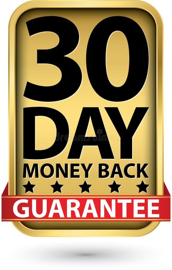 30 - achter de waarborg gouden teken van het daggeld, vectorillustratie stock illustratie