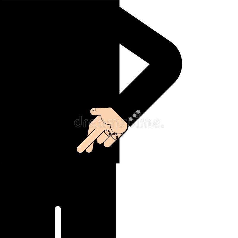 Achter gekruiste vingers De teleurstelling van het vingerssymbool Vector illustr vector illustratie