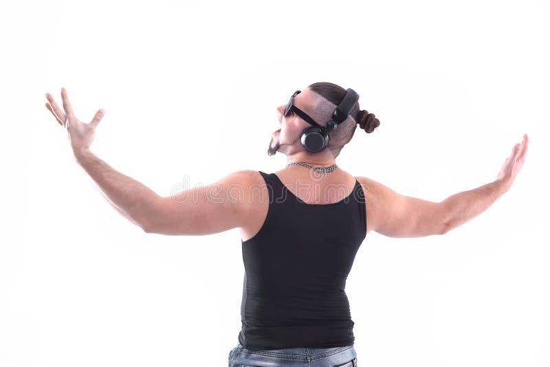 Achter mening modieuze DJ-Rapper, die exemplaarruimte bekijken Geïsoleerd op wit stock afbeelding