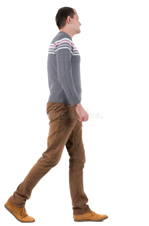 Achter mening van de gaande knappe mens in sweater stock foto's