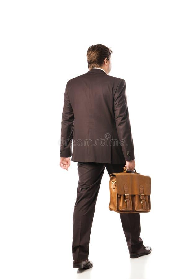 Achter mening van de lopende bedrijfsmens stock afbeelding