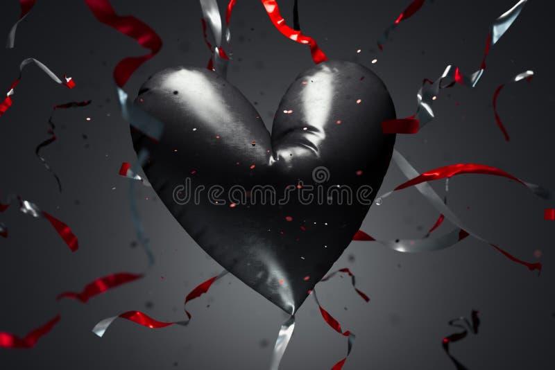 Achter realistische ballon in de vorm van hart met kronkelweg het 3d teruggeven vector illustratie
