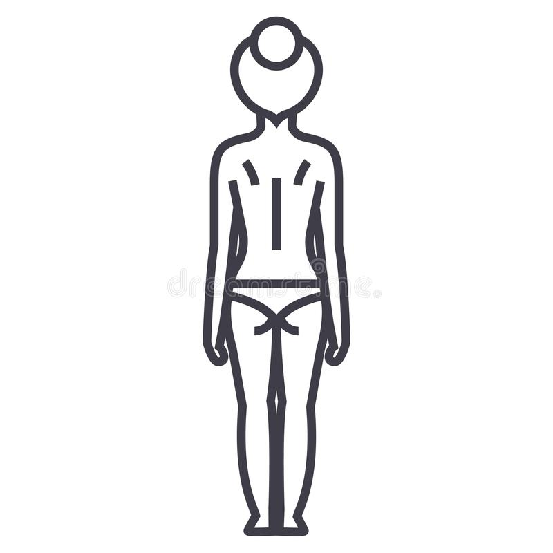 Achter vector de lijnpictogram van het vrouwenlichaam, teken, illustratie op achtergrond, editable slagen royalty-vrije illustratie