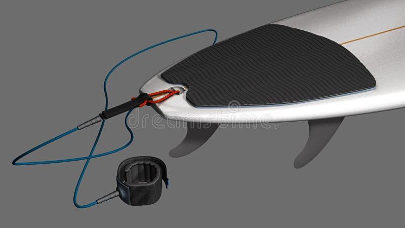Achterdeel van een korte surfplank met het stootkussen, de vinnen en de leiband van de staarttractie stock illustratie
