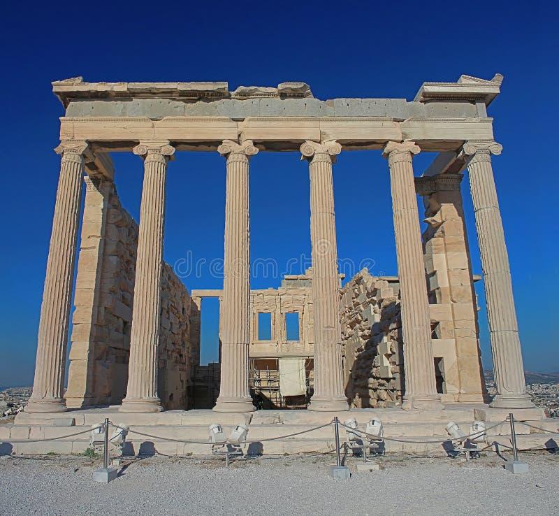 Achtereind van de Erechtheion-tempel in Akropolis, Athene, Griekenland stock afbeelding