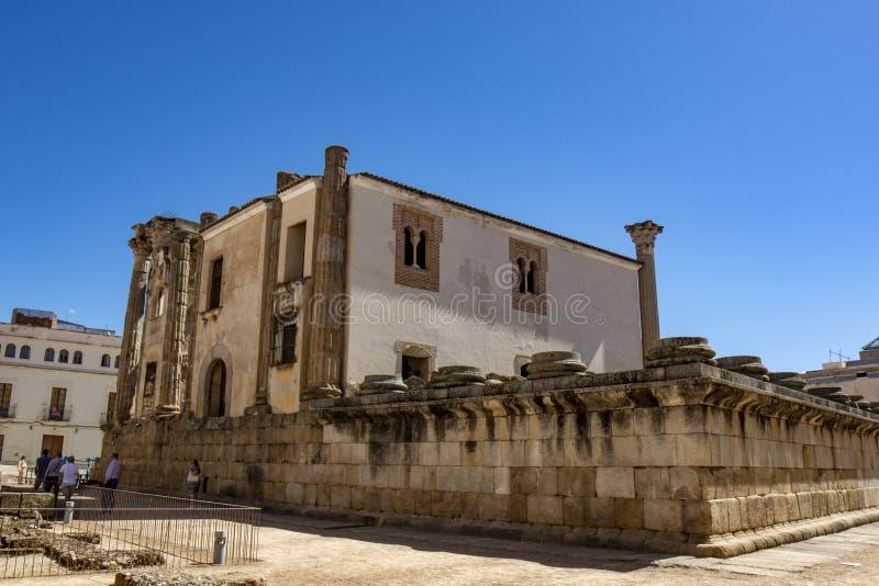 Achtereind van Tempel van Diana, Merida, Spanje royalty-vrije stock afbeelding