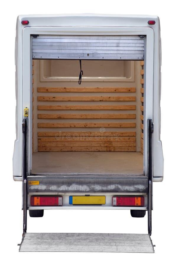 Achtergedeelte van lege doosbestelwagen stock afbeeldingen