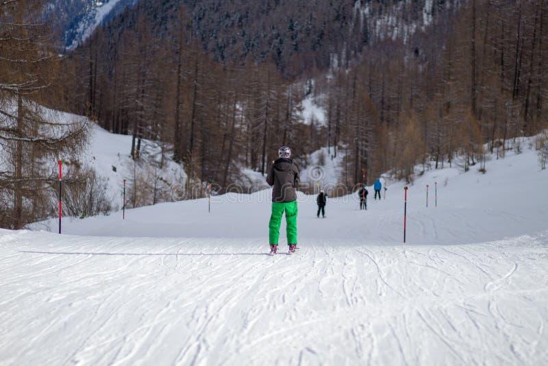 Achtergedeelte van skiër royalty-vrije stock fotografie