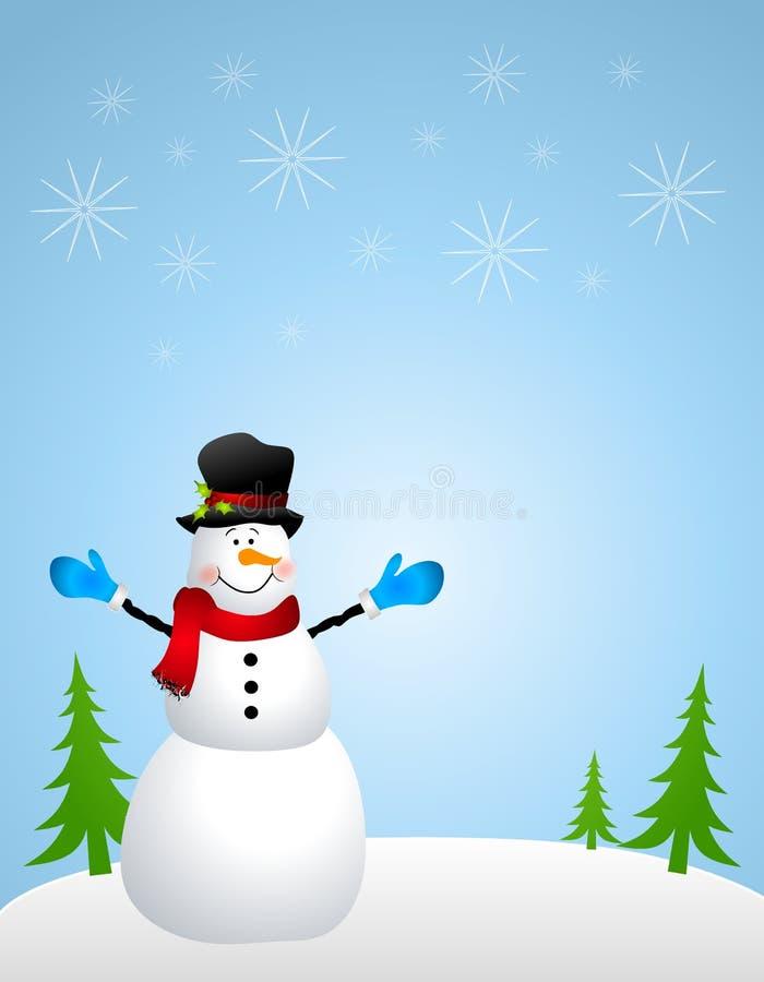 Achtergrond 3 van de Scène van de sneeuwman royalty-vrije illustratie