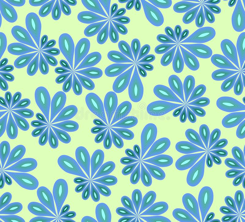 Achtergrond in abstract ontwerp met blauwe en groene asymmetrische fowers vector illustratie