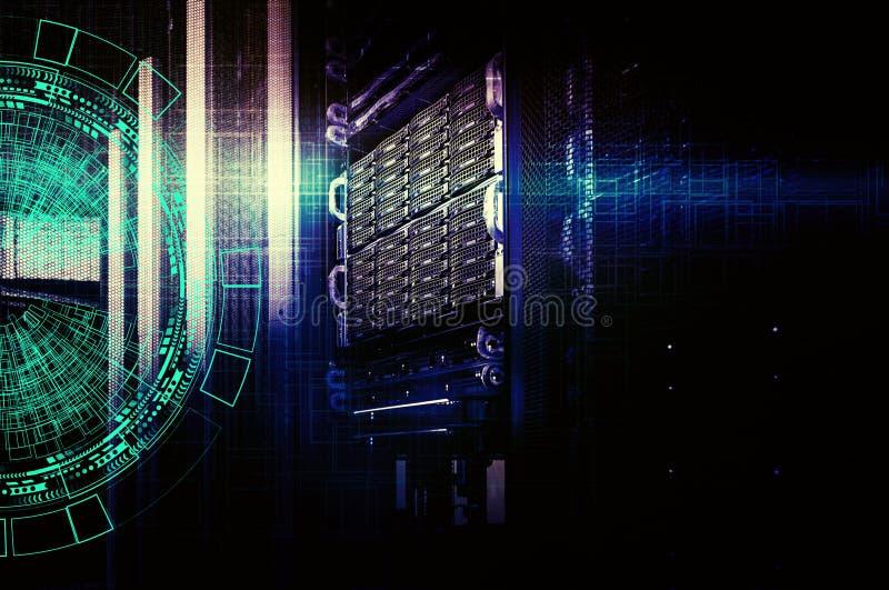 Achtergrond abstract technologie communicatie concept Concept de gegevenscentrum van de schijfopslag stock illustratie