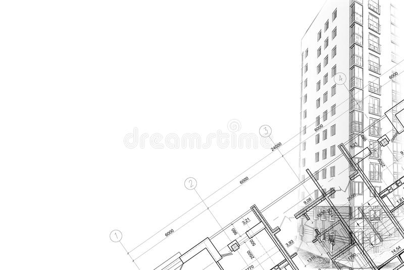 Achtergrond architecturale schetstekening royalty-vrije stock afbeelding