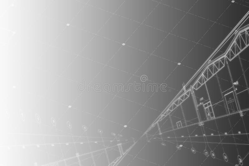 Achtergrond - architecturale tekening van de industriële bouw royalty-vrije stock foto's