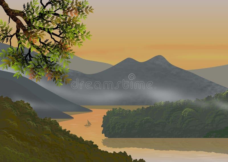 Achtergrond of behang met natuurlijk landschap, met bergen, heuvels, bomen, een rivier van kalme wateren en een kleine vissersboo royalty-vrije illustratie