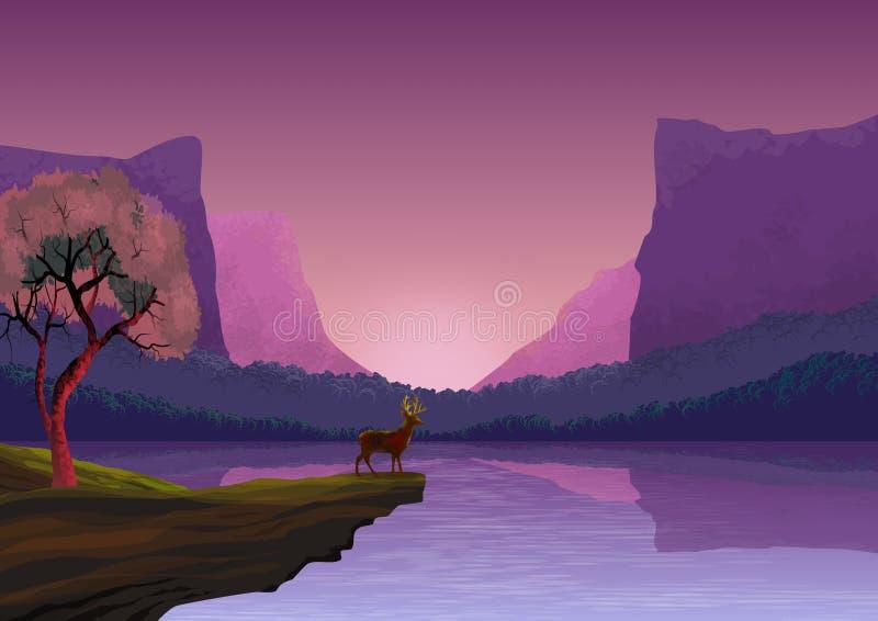Achtergrond of behang met natuurlijk landschap, met bergen, heuvels, bomen, een rivier van kalme wateren en een kleine vissersboo vector illustratie