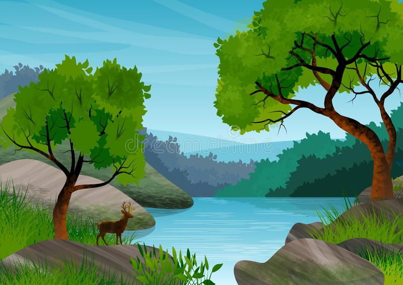 Achtergrond of behang met natuurlijk landschap Bos, bomen, meer of rivier en een hert in silhouet stock illustratie