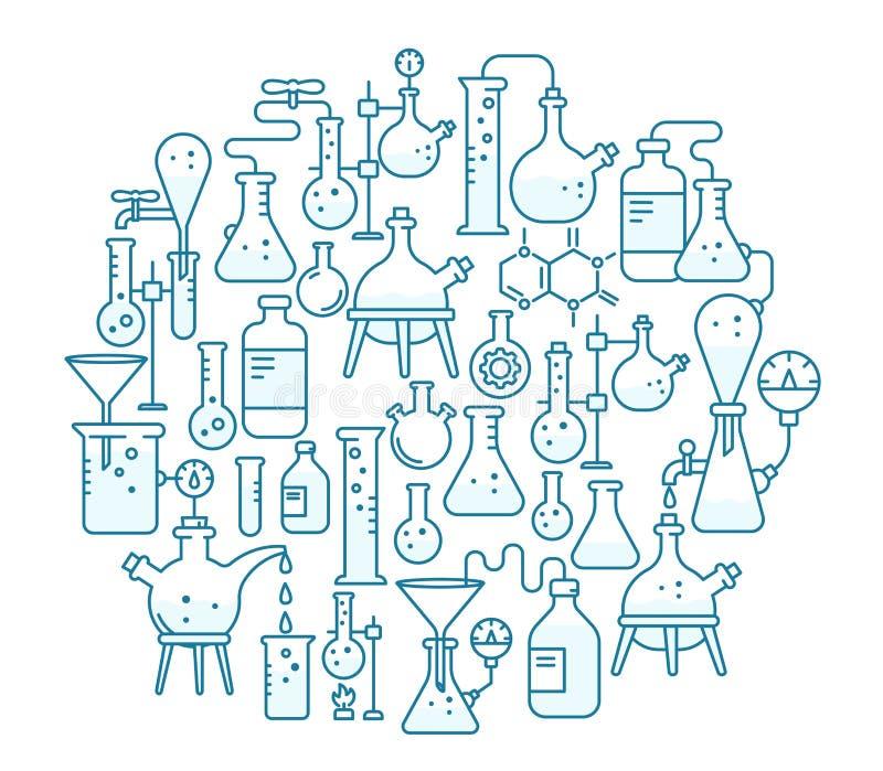 Achtergrond chemie Onderwijswetenschappen De productie van chemische kit Laboratoriumonderzoek vector illustratie