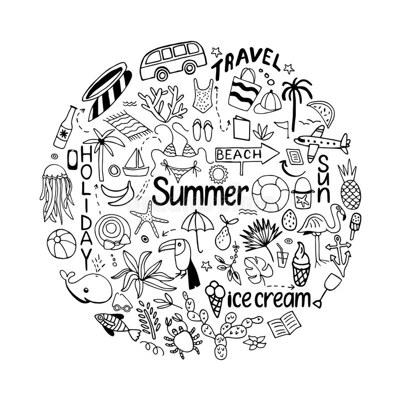 Achtergrond in cirkel met de zomerreeks van geïsoleerde leuke witte imag stock illustratie