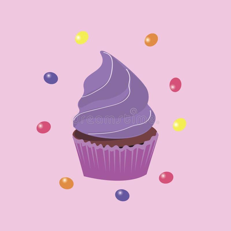 Achtergrond de lentebehang met muffins Illustratie stock illustratie