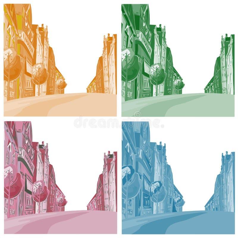 Achtergrond de stad van verschillende kleuren stock illustratie