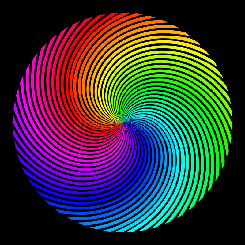 Achtergrond in de vorm van een gekleurd gebied van stralen die over een spiraal worden getold vector illustratie