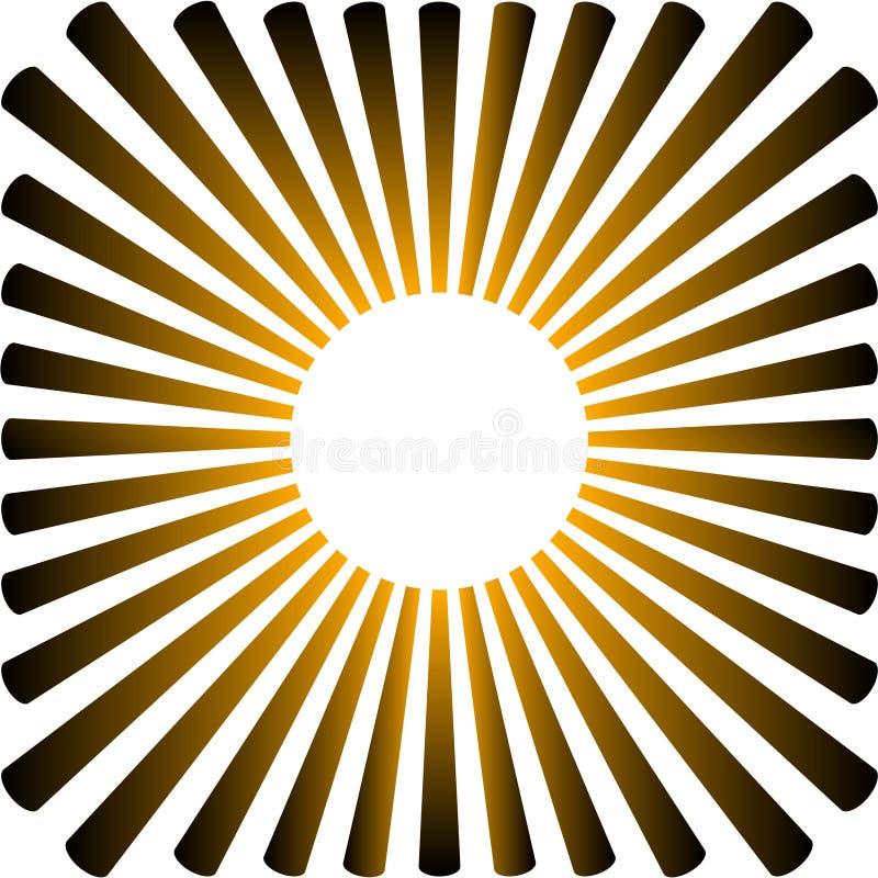 Achtergrond in de vorm van een gele zon met stralen royalty-vrije illustratie