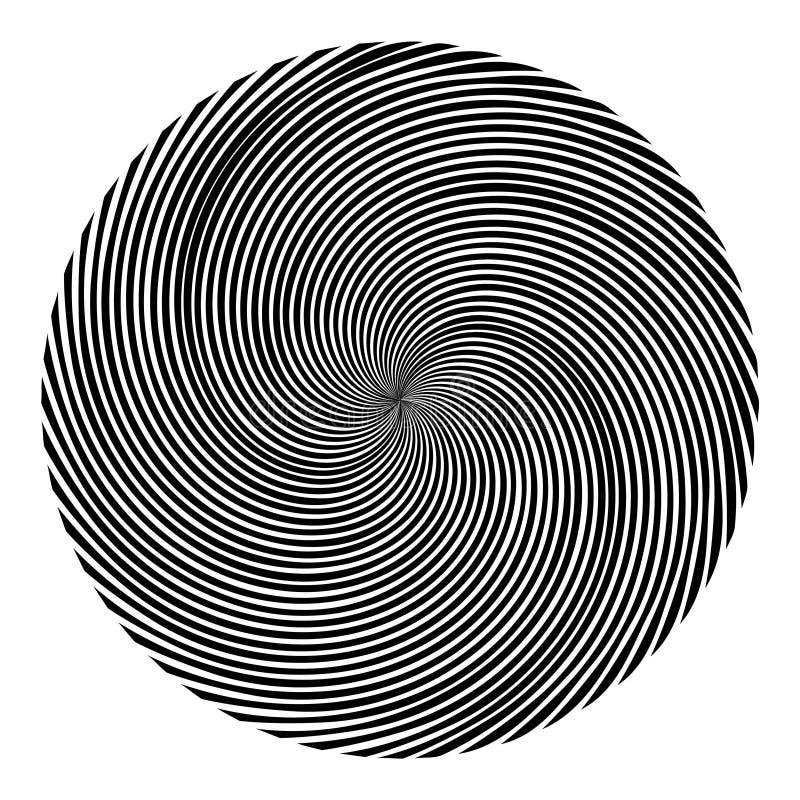 Achtergrond in de vorm van een zwarte bal van spiraalvormig verdraaide stralen stock illustratie