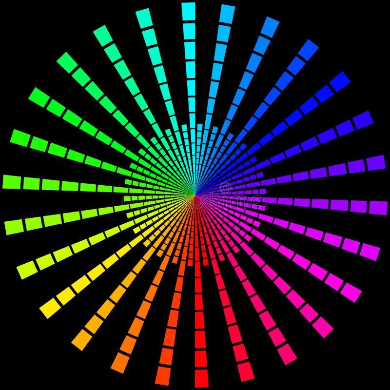 Achtergrond in de vorm van gekleurde stralen in de vorm van een cirkel op een zwarte royalty-vrije illustratie