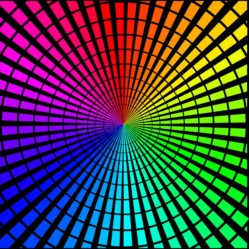 Achtergrond in de vorm van gekleurde stralen op een zwarte vector illustratie