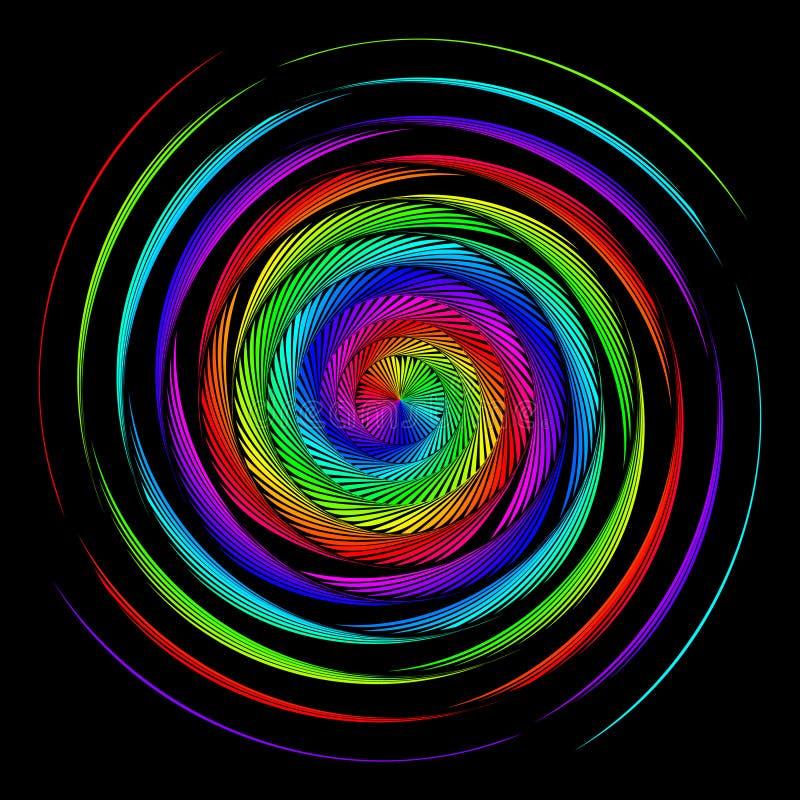 Achtergrond in de vorm van verdraaide spiralen van gekleurde stralen op een zwarte Vectorillustratie voor Webontwerp stock illustratie