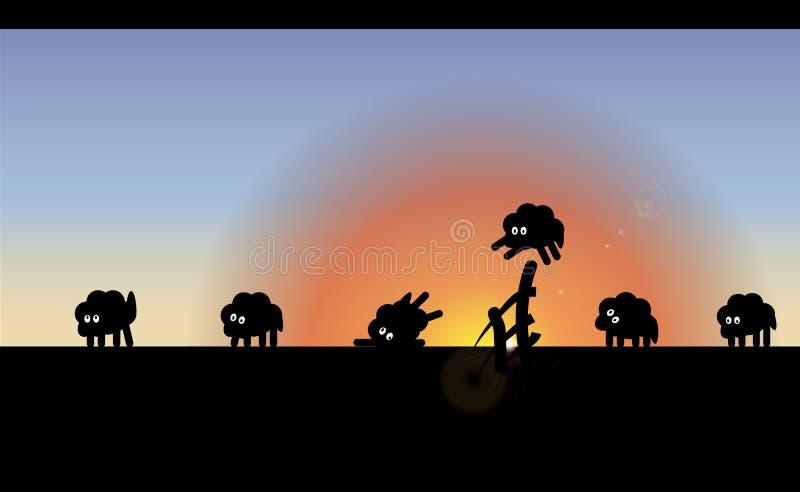 Achtergrond die nauwgezet jonge schapen tellen die over de omheining, tot de ochtend springen Vectorillustratie in slaap stock illustratie