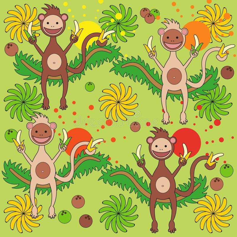 Achtergrond - een aap met bananen royalty-vrije illustratie
