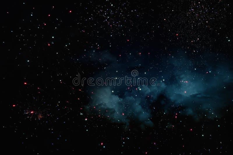 Achtergrond en samenvatting Melkweg, nevel en Sterrige kosmische ruimtetextuur stock foto's