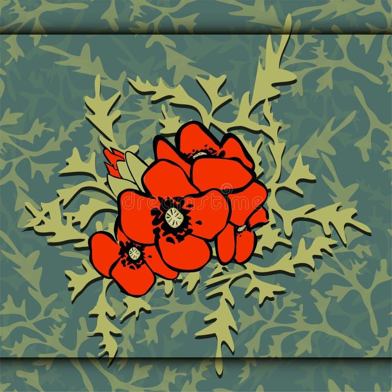 Achtergrond eps 10 van de papavers de vectorillustratie stock illustratie