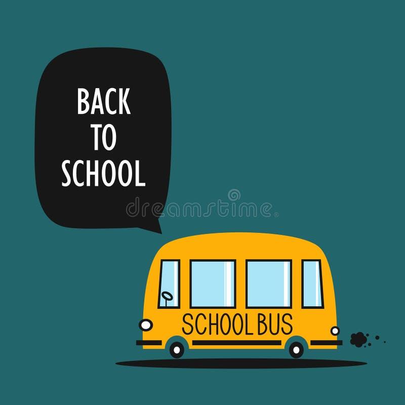 Achtergrond, gele schoolbus en tekst stock illustratie