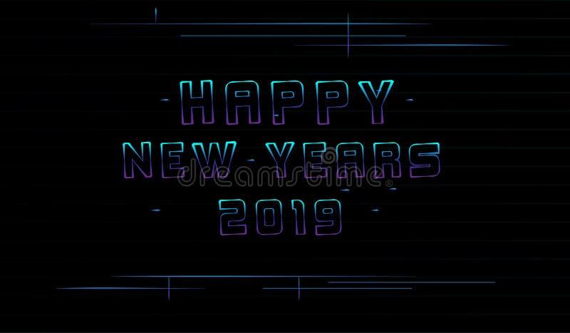 Achtergrond Gelukkig Nieuwjaren 2019 Minimalistisch en Licht retro beetje stock illustratie