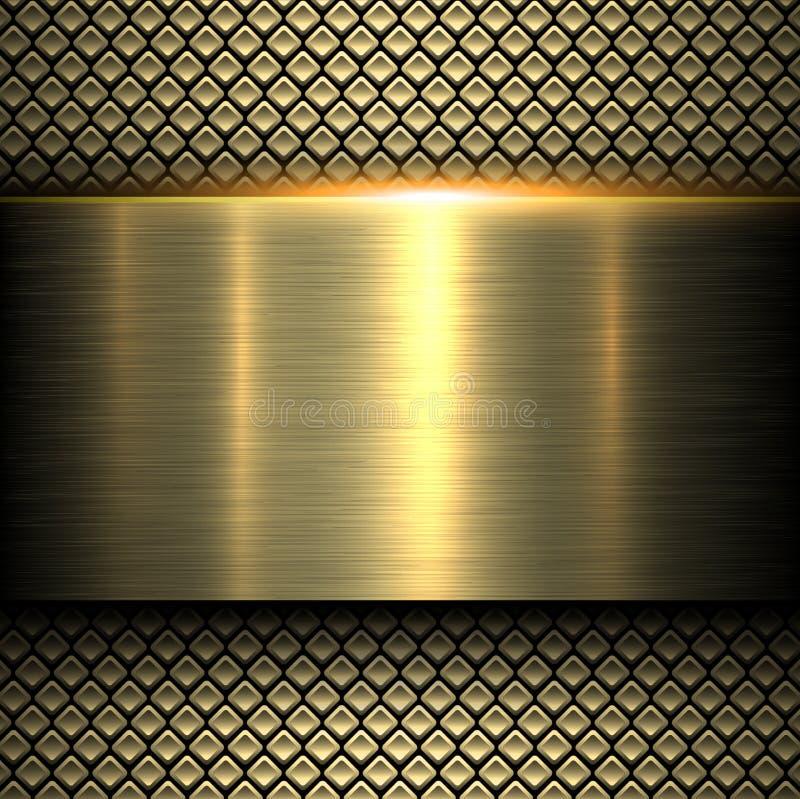 Achtergrond gouden metaaltextuur stock illustratie