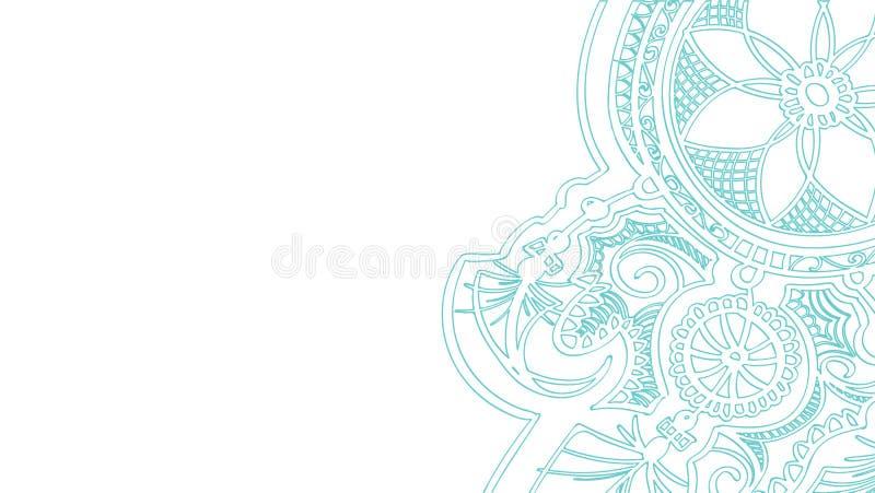 achtergrond halftone dreamcatcherontwerp met verenbehang het grijze overzicht van de krabbelhand getrokken die contour op wit wor royalty-vrije illustratie