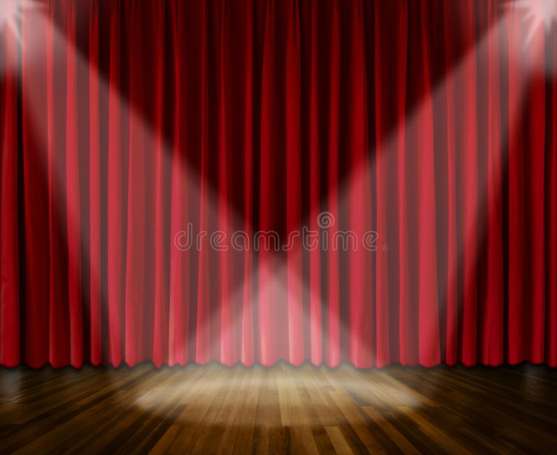Achtergrond het aansteken op stadium rood gordijn en houten vloer binnenlandse achtergrond stock afbeelding