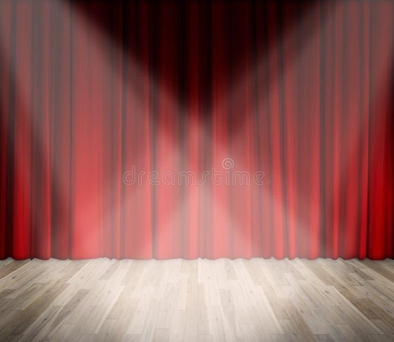 Achtergrond het aansteken op stadium rood gordijn en houten vloer binnenlandse achtergrond royalty-vrije stock fotografie