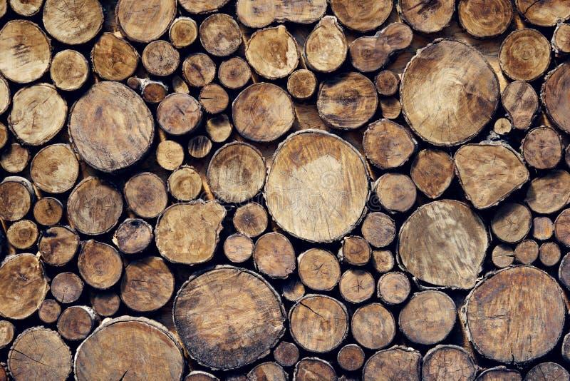 Achtergrond, houten dwarsdoorsnede Structuur van natuurlijke houtblokken, wandbekleding stock foto