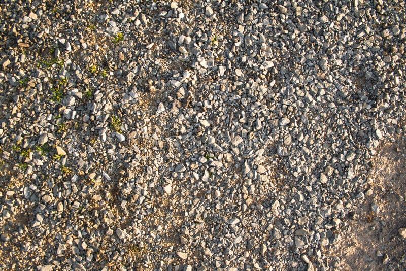 Achtergrond, materiaal, textuur van een grintvloer met stenen en wat vegetatie stock fotografie