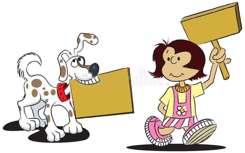 Achtergrond Meisje en Hond stock illustratie