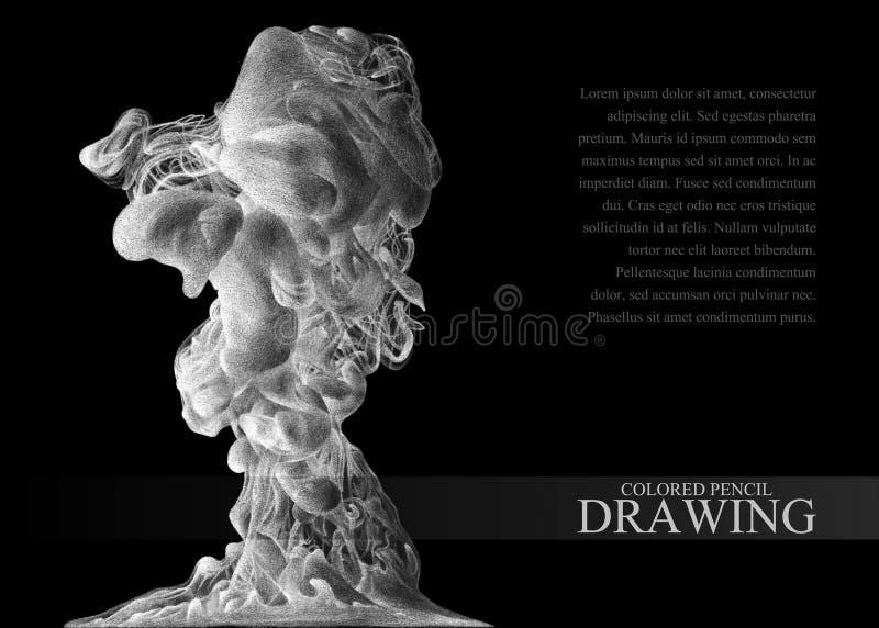Achtergrond met abstracte die wolk van inkt met de hand met gekleurd wordt getrokken royalty-vrije illustratie