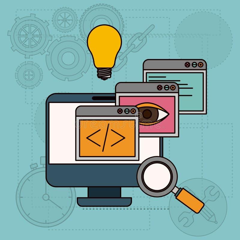 Achtergrond met appsvensters in ontwikkeling van ideeën in bureaucomputer vector illustratie