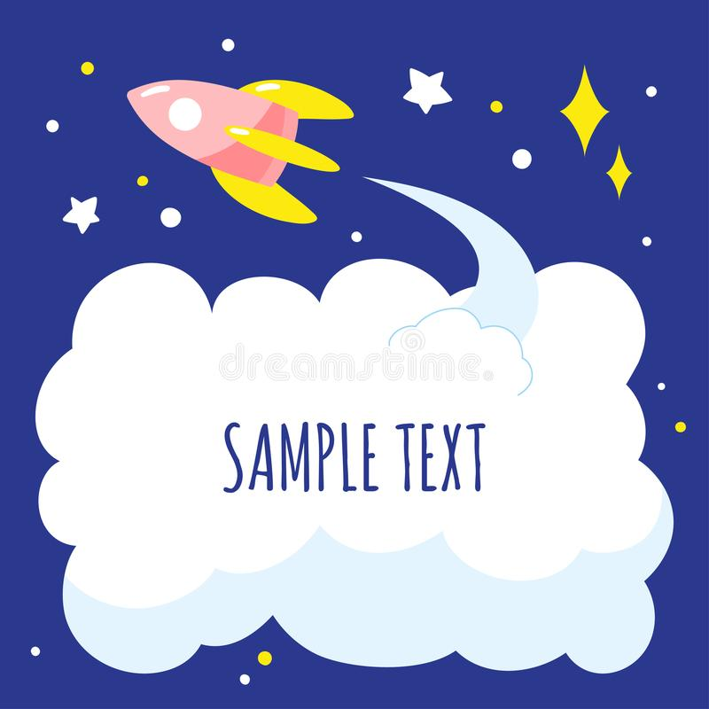 Achtergrond met beeldverhaal ruimteraket en wolk van uitlaat, ruimte voor tekst stock illustratie