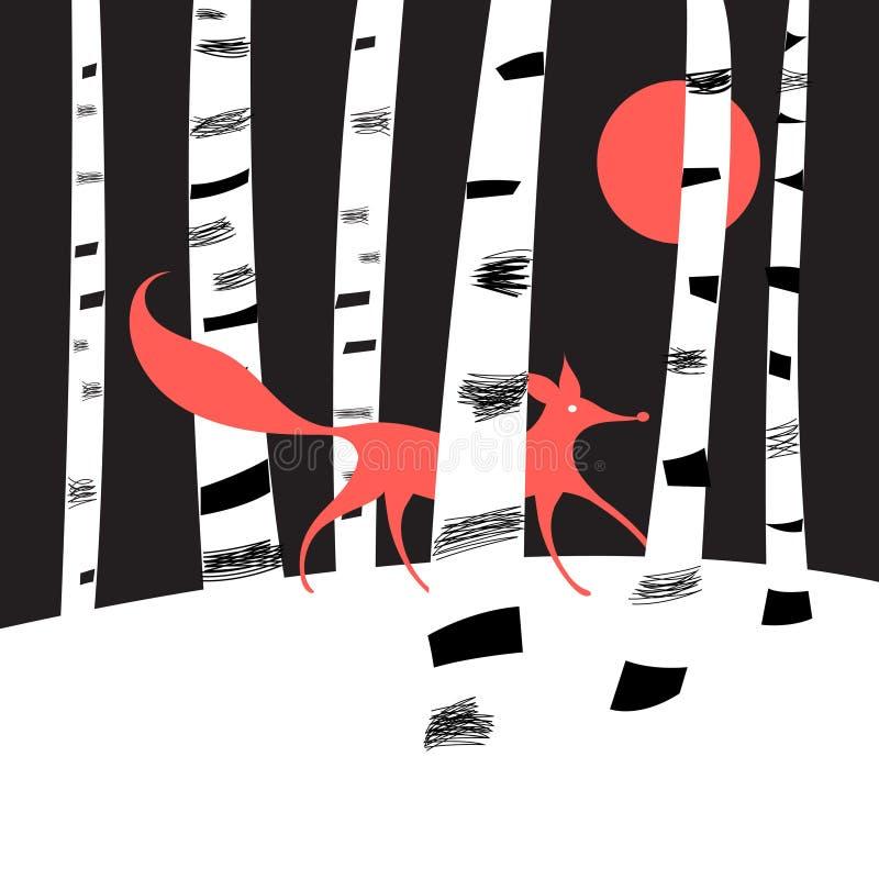 Achtergrond met berkbomen vector illustratie