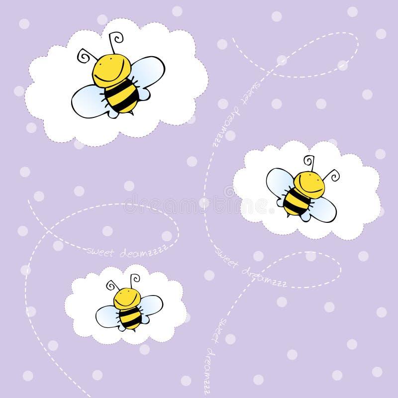 Achtergrond met bijen stock illustratie