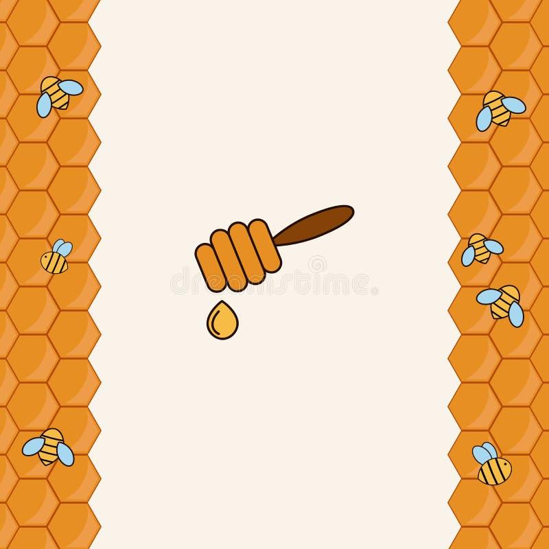 Achtergrond met bijen op de honingraat royalty-vrije illustratie
