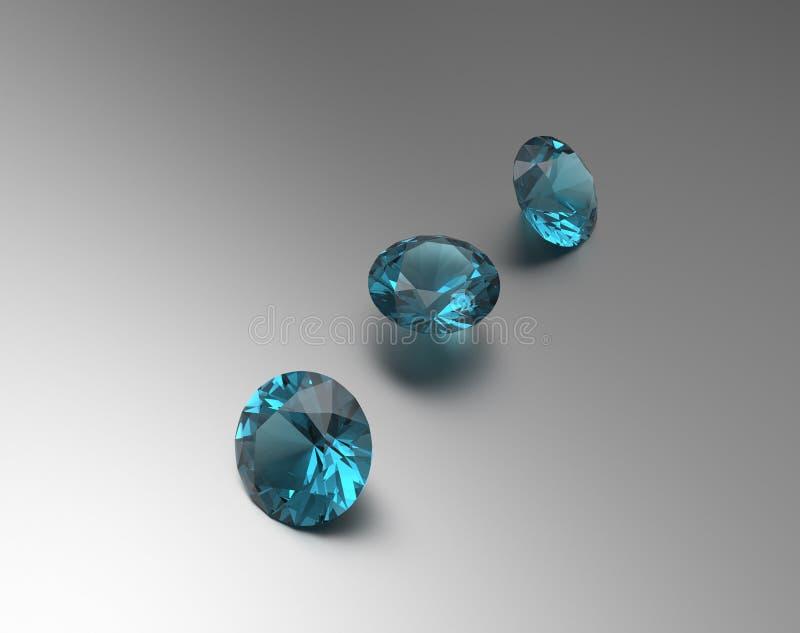 Achtergrond met blauwe halfedelstenen 3D Illustratie vector illustratie